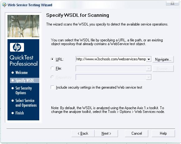 Specify WSDL for Scanning