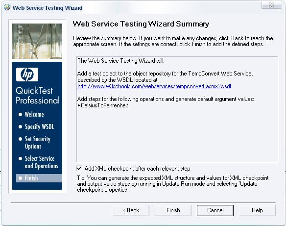 Web Services Test Wizard Summary