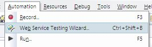 Web Services Testing Wizard Menu