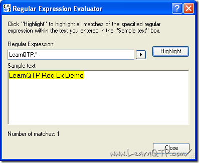 UFT Regular Expression evaluator