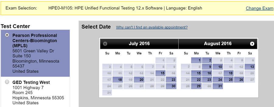Choose UFT Certification Exam Center