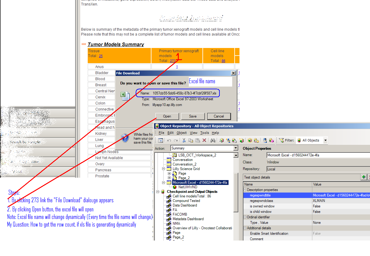 How to get row count if xls file is generating dynamically.