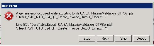 Error While Exporting Excel