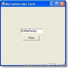 Custom User Form With Text