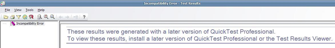 How to view result in case of an Incompatibilty Error?