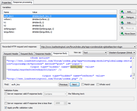 Response Processing in WAPT tool