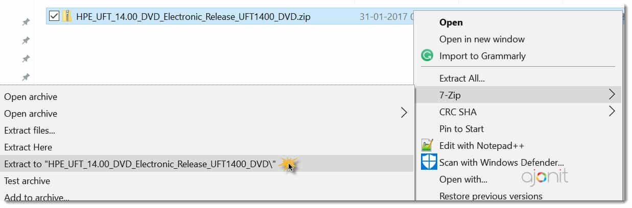 Extract UFT 14 zip file