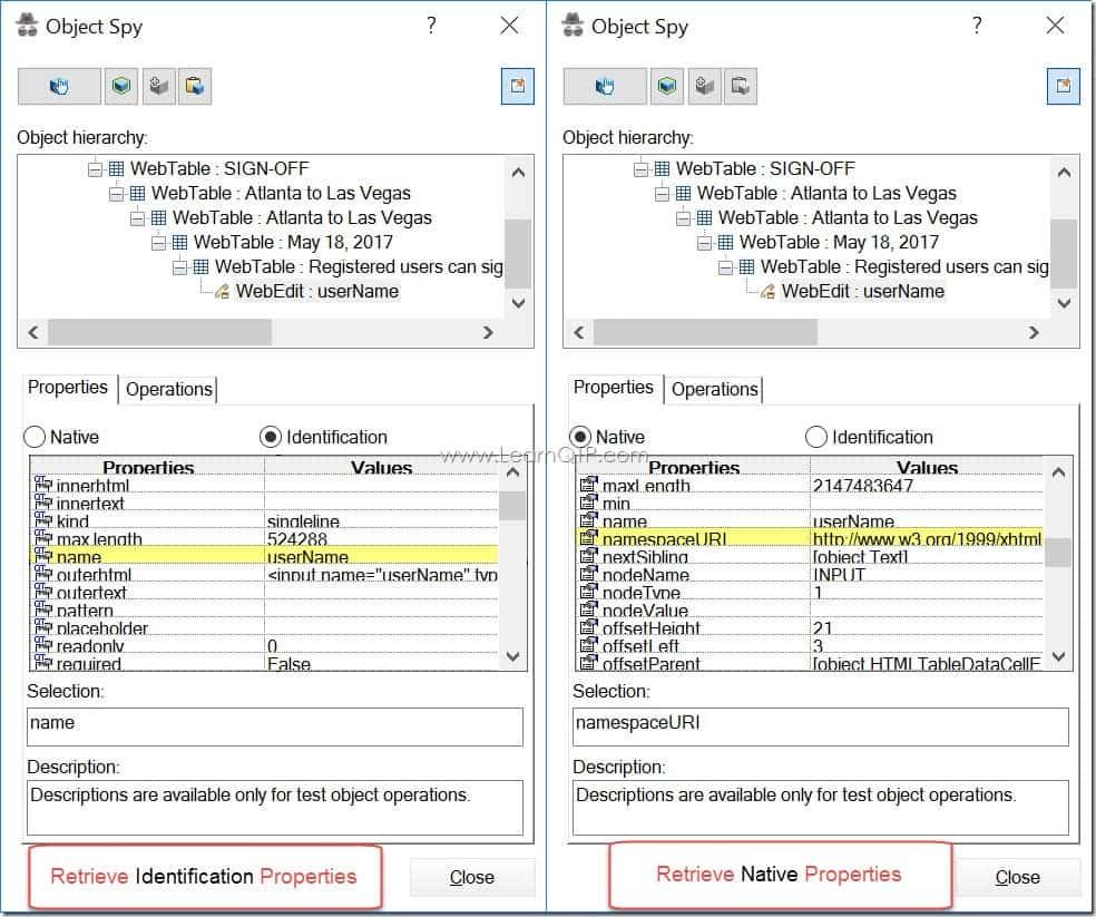 Tutorial 8: Native vs Identification Properties in UFT